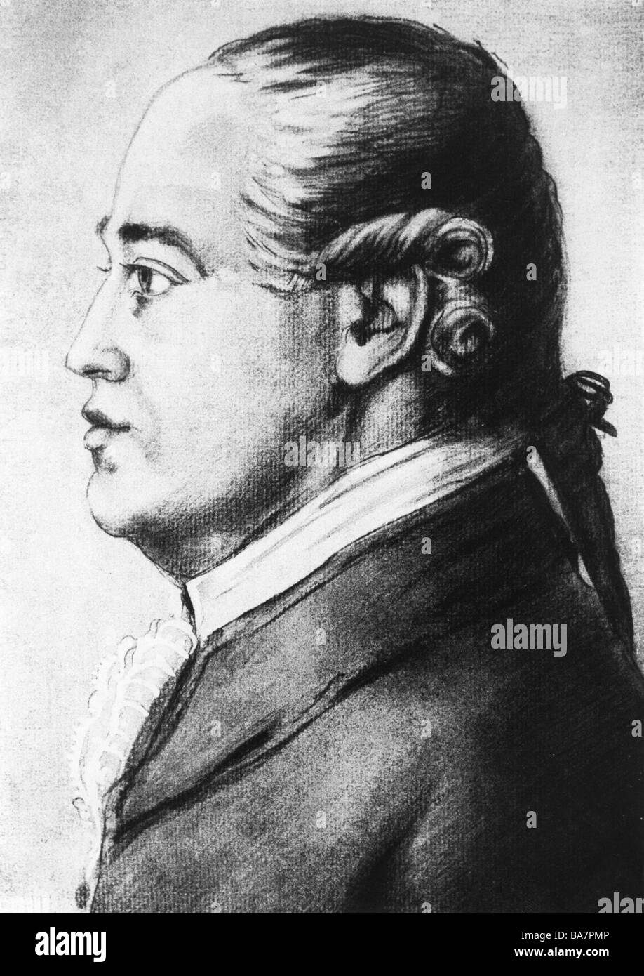 Silbermann, Gottfried, 14.1.1683 - 4.8.1753, German constructor of organs, imaginary portrait after silhouette, - Stock Image