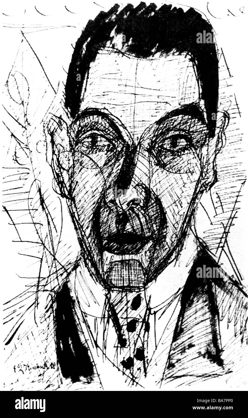 Kirchner, Ernst Ludwig , 6.5.1880 - 15.6.1938, German painter, printmaker, portrait, self-portrait, 1928, ink drawing, - Stock Image