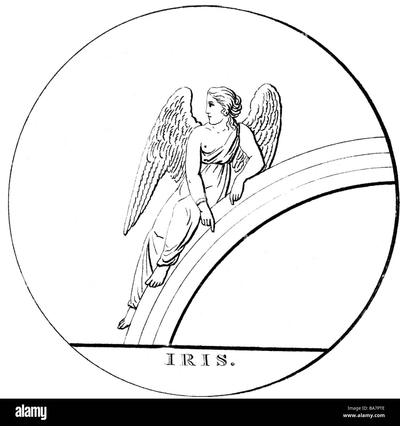 Iris, Greek messenger of the gods, sitting on rainbow, wood engraving, after ancient image, 1822, Additional-Rights - Stock Image