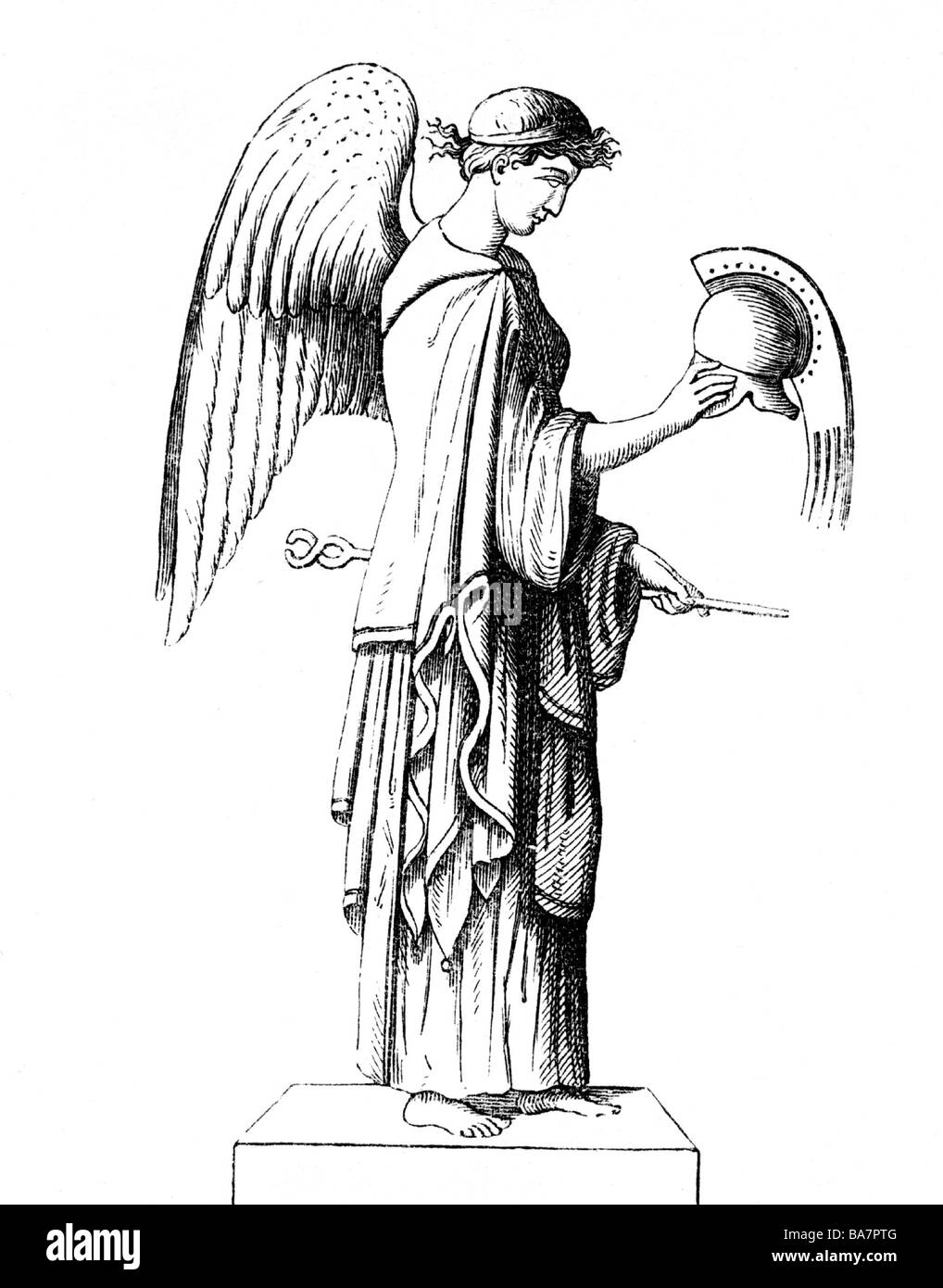 Iris, Greek messenger of the gods, full length, wood engraving, after ancient statue, 19th century, Additional-Rights - Stock Image