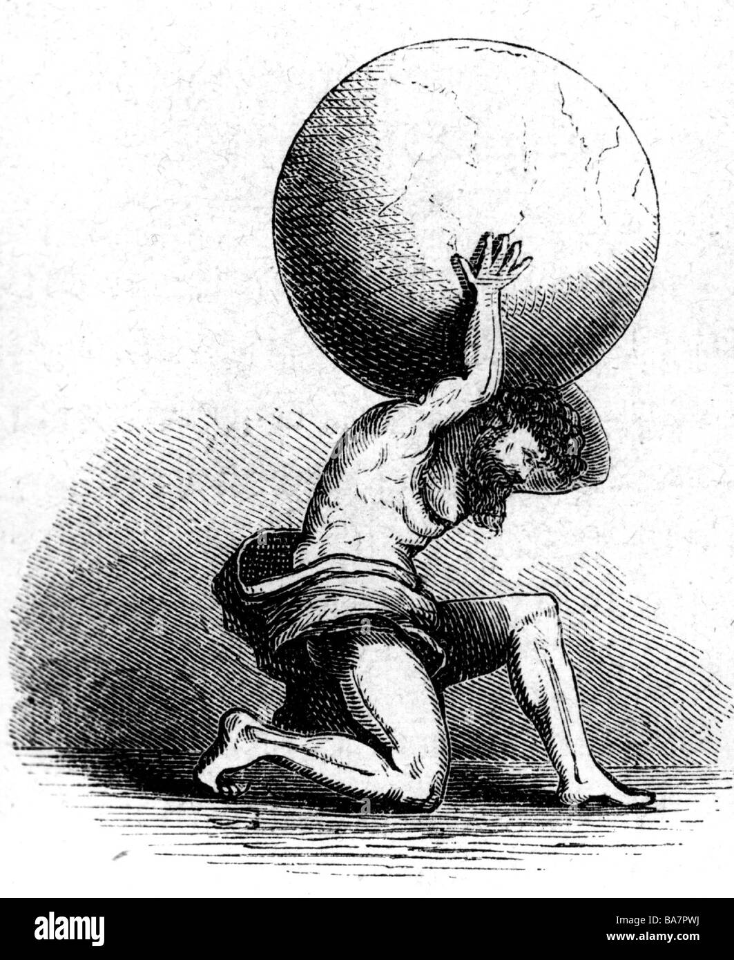 Atlas, Titan, Greek myth figure, carrying earth on his shoulders, wood engraving, 19th century, Additional-Rights - Stock Image