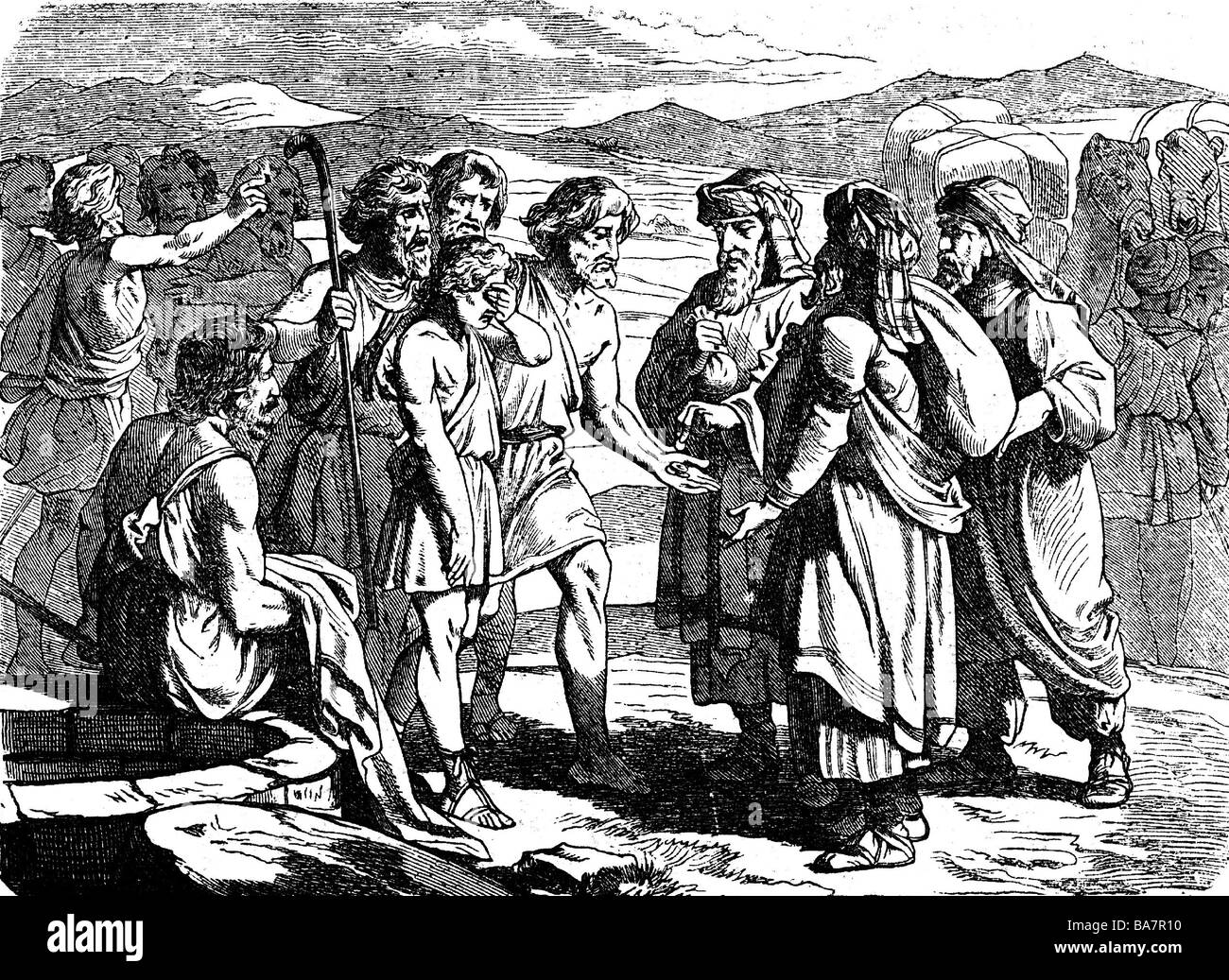 Joseph, major figure from the Hebrew Bible, Joseph is being sold as slave by his brothers, wood engraving, 19th - Stock Image