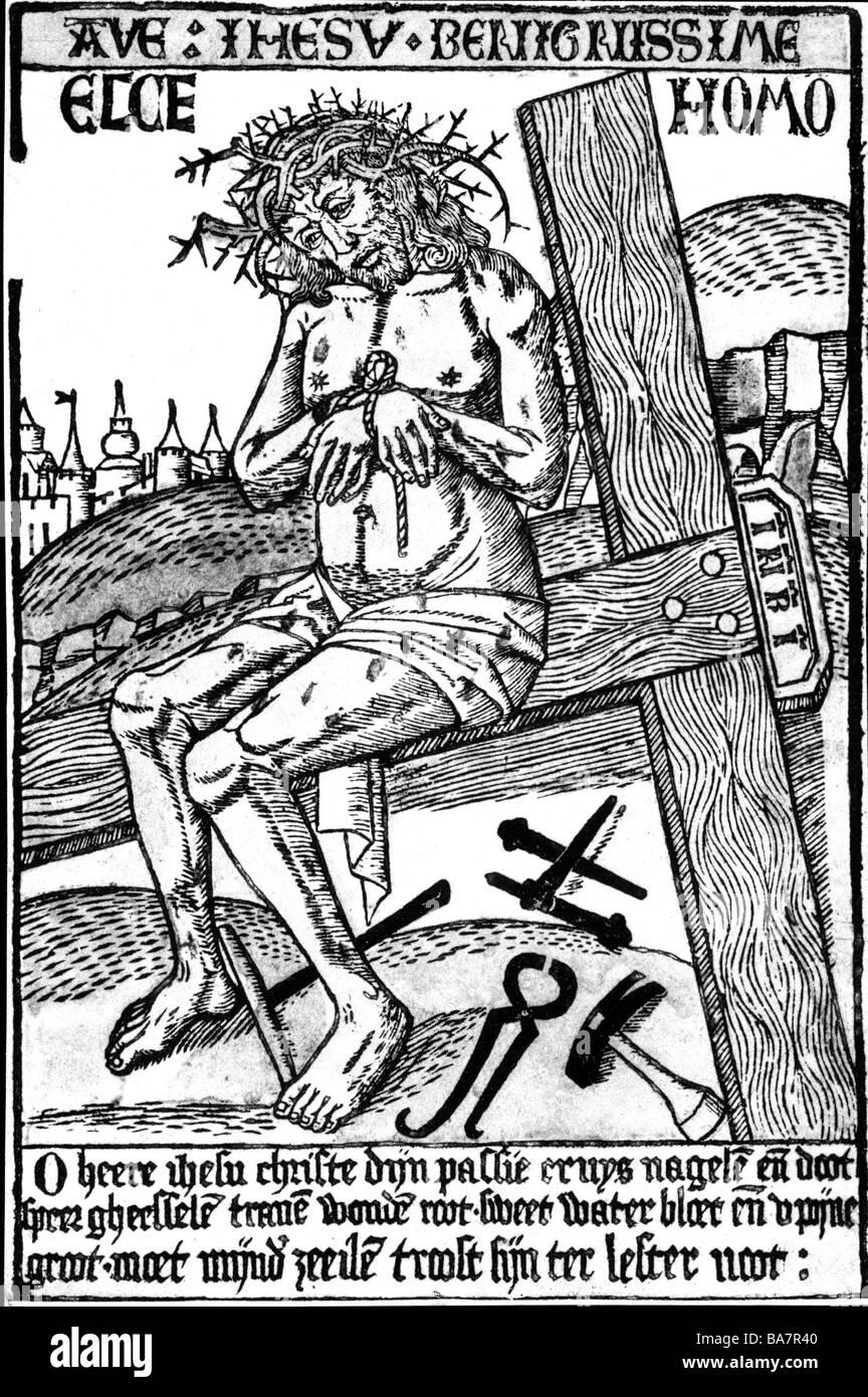 "Jesus Christ, circa 4 BC - circa 33 BC, Man of Sorrows, ""Ecce Homo"", wood engraving, Netherlands, circa 15th century, Stock Photo"