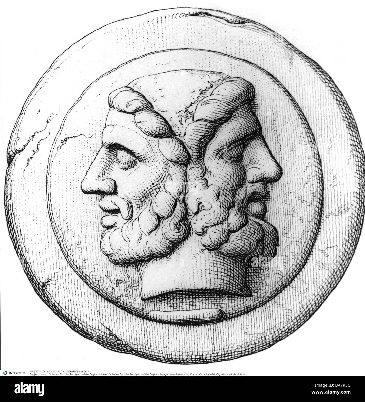 Janus, Roman god of gates, doors, doorways, beginnings and endings, wood engraving, after Roman copper coin, Additional - Stock Image