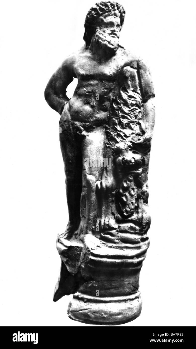 Heracles, Greek deity and divine hero, full length, statue, Hellenistic period, Museum of Archeaology, Constanza, - Stock Image
