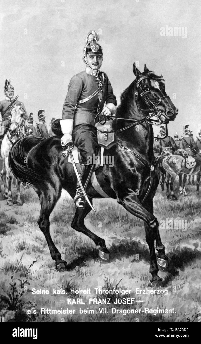 Charles I, 17.8.1887 - 1.4.1922, Emperor of Austria 1916 - 1918, as Rittmeister, 7th k.u.k. Dragoon Regiment 'Herzog - Stock Image