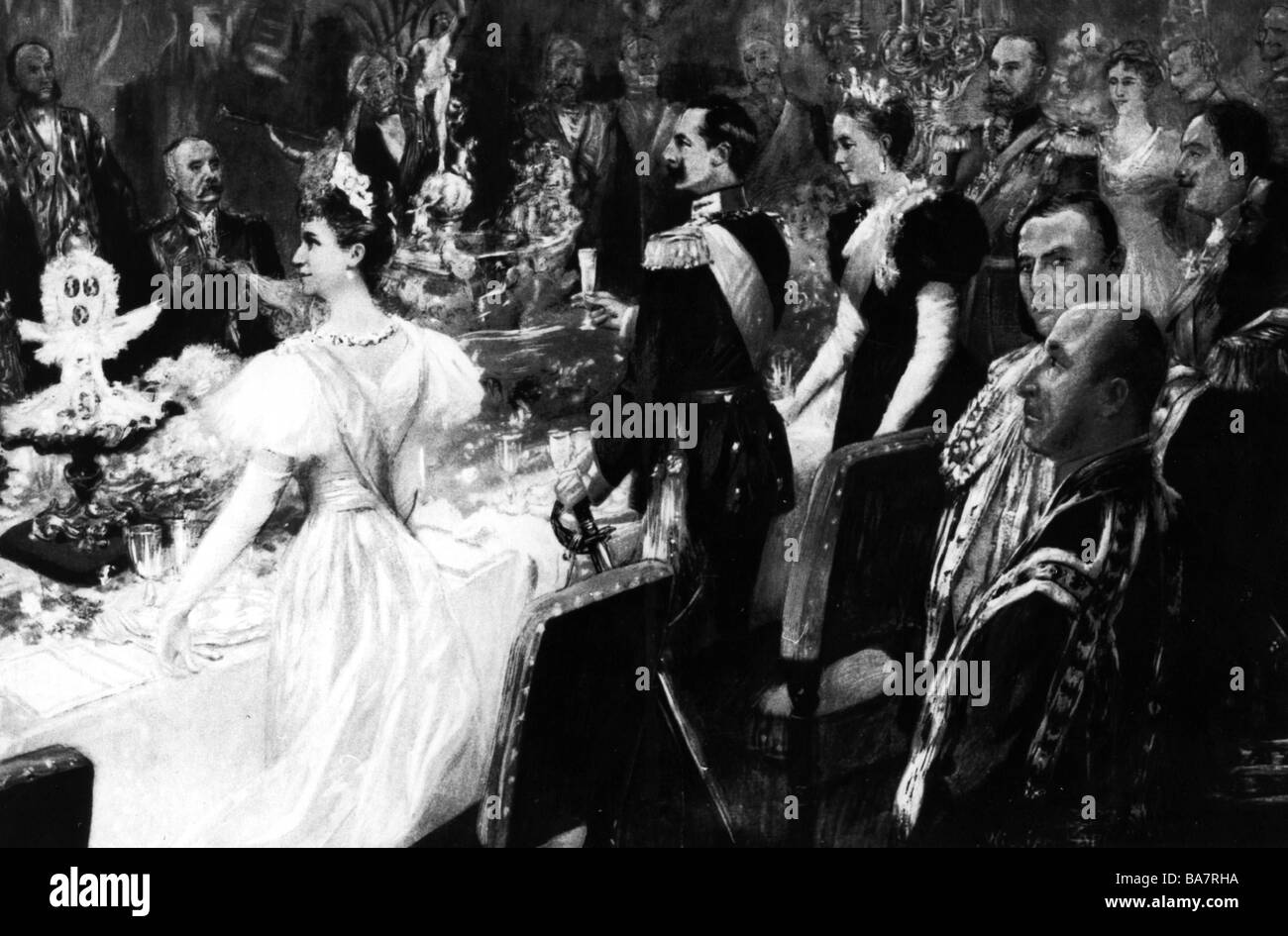 William II, 27.1.1859 - 4.6.1941, German Emperor 15.6.1888 - 9.11.1918, banquet at court, New Year's Eve 1899, - Stock Image