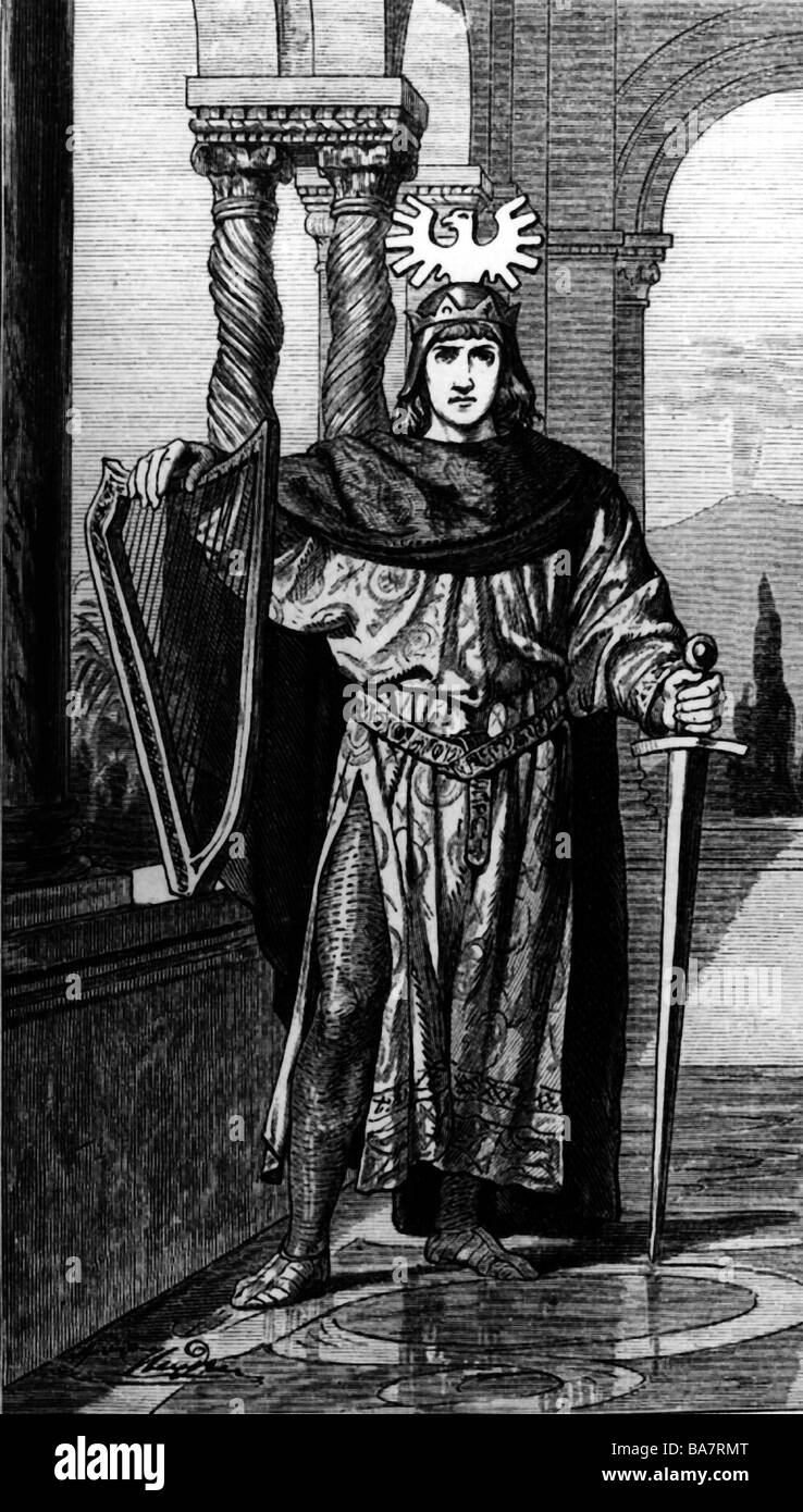 Frederick II, 26.12.1194 - 13.12.1250, Holy Roman Emperor 22.11.1220 - 13.12.1250, genre picture, wood engraving, - Stock Image