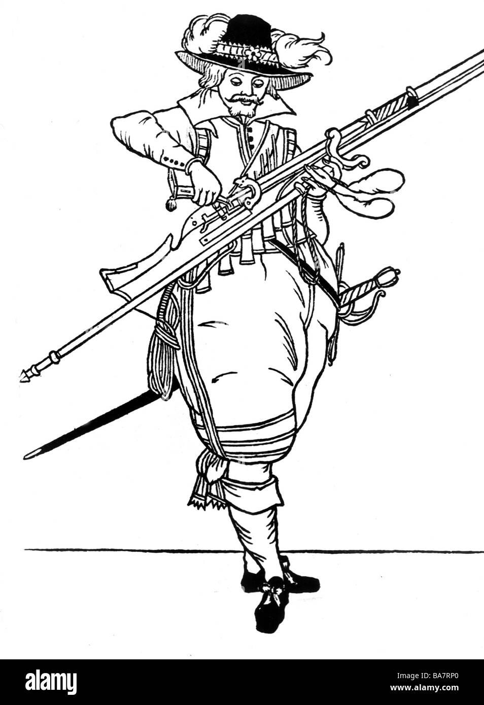 military, infantry, musketeers, musketeer loading musket, woodcut, Frankfurt am Main, 1609, Additional-Rights-Clearances - Stock Image