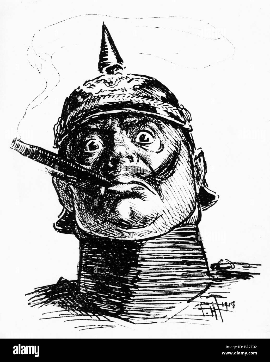 William II, 27.1.1859 - 4.6.1941, German Emperor 15.6.1888 - 9.11.1918, portrait, caricatur, 'Punch', Great - Stock Image