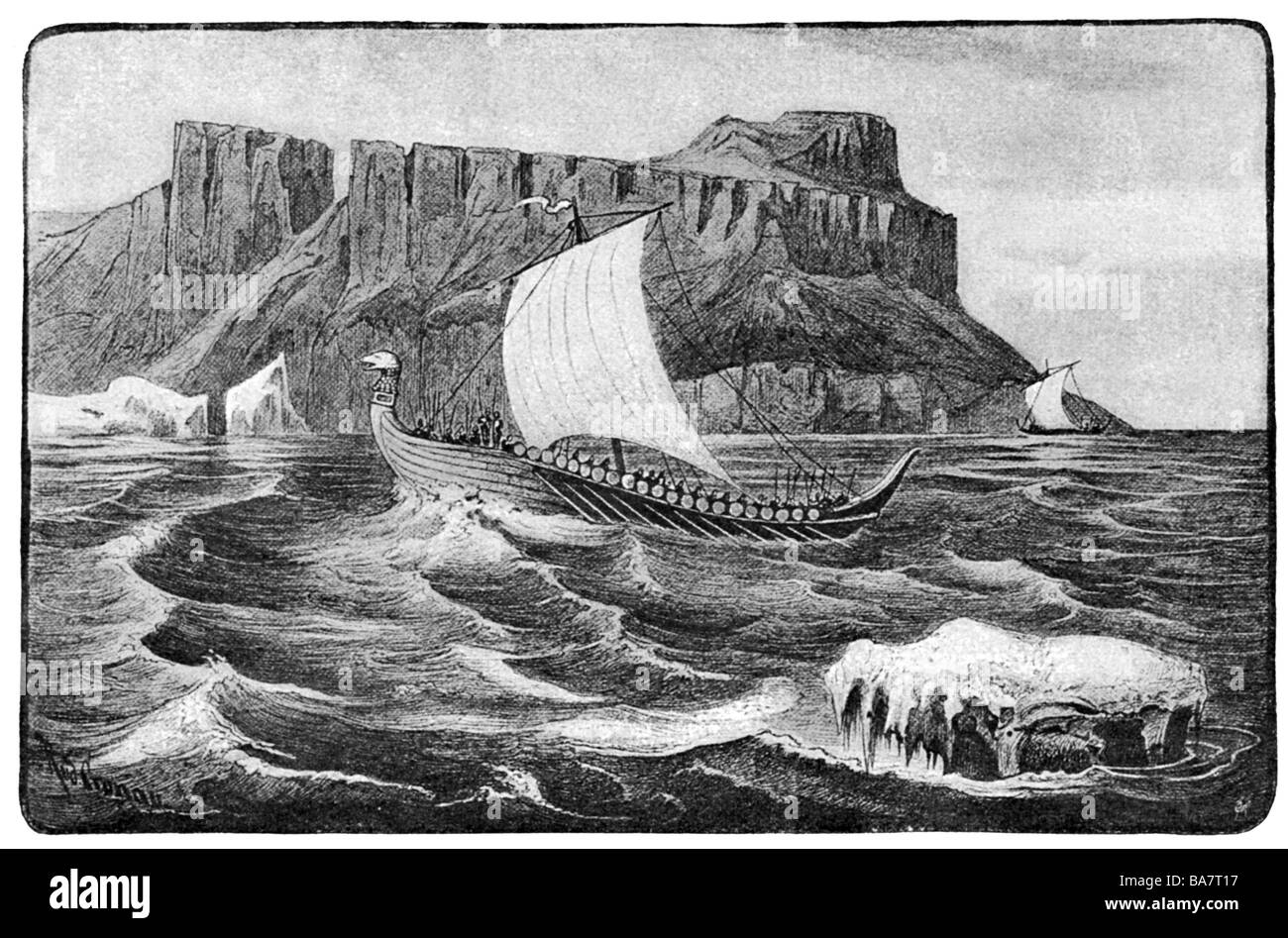 middle ages, Vikings, Viking ships at the West Coast of Greenland, circa 1000, Additional-Rights-Clearances-NA - Stock Image