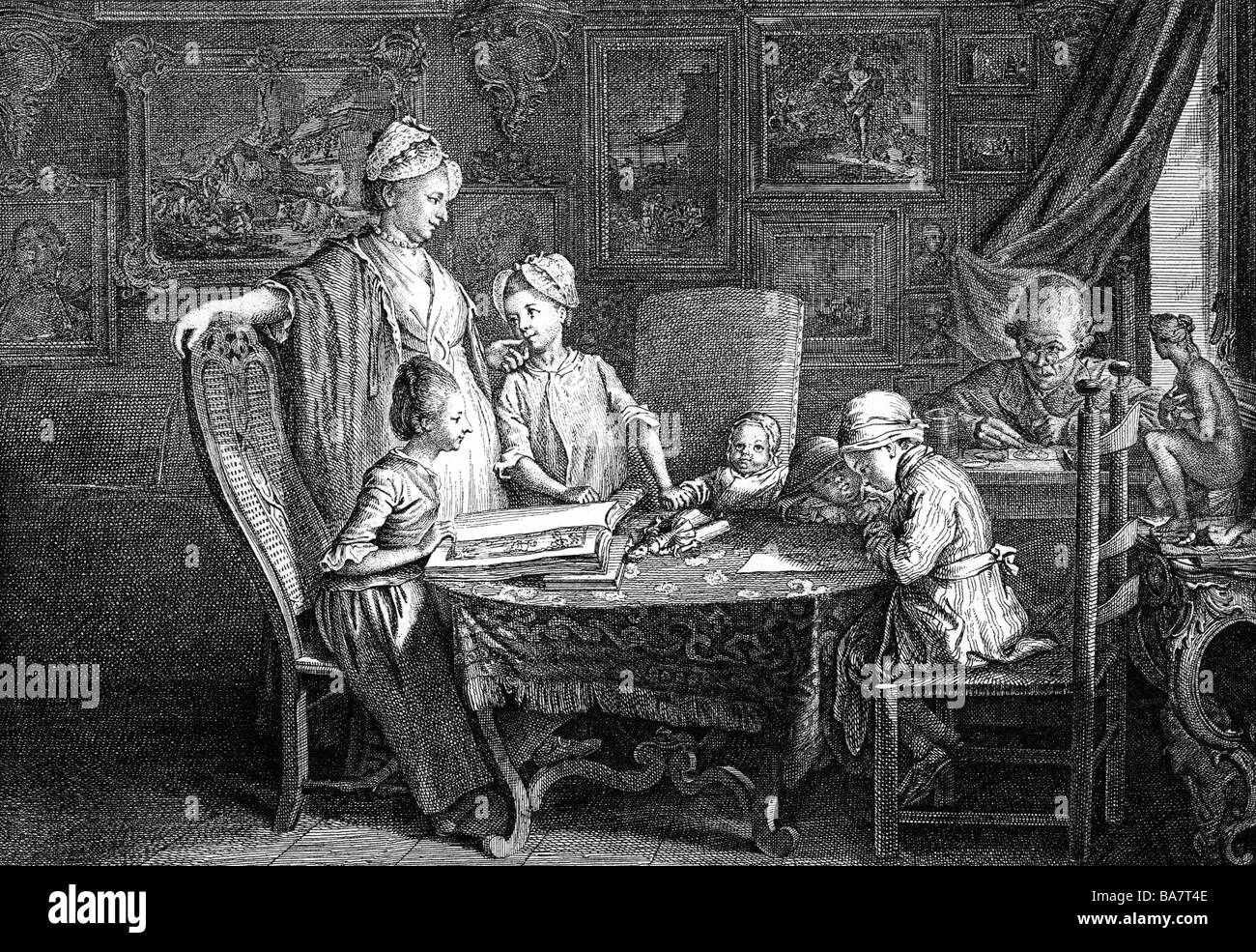 Chodowiecki, Daniel, 16.10.1726 - 7.2.1801, Polish - German painter and printmaker, disturbed by his family, copper - Stock Image
