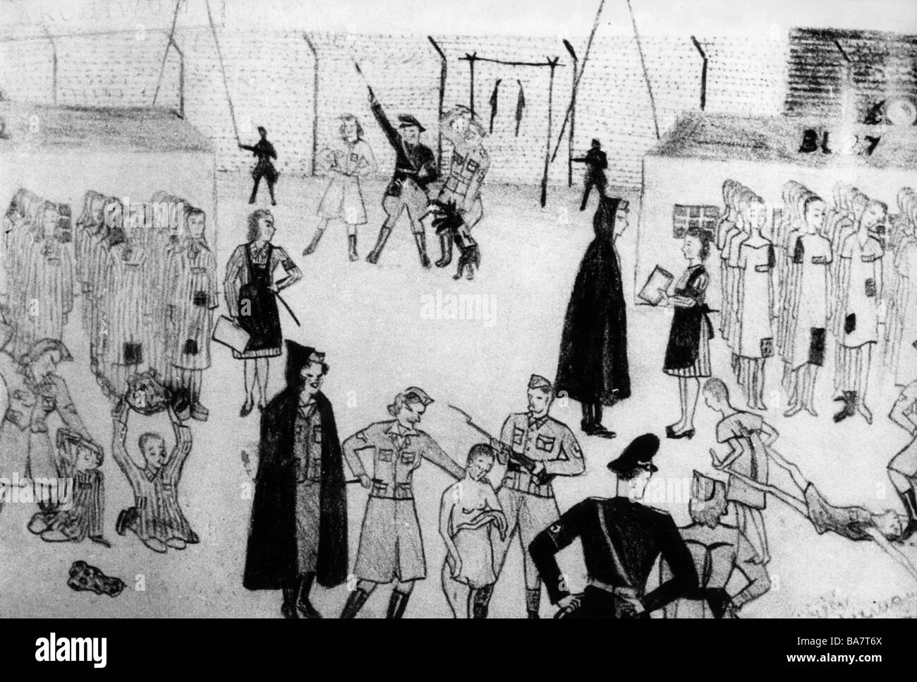 Nazism / National Socialism, crimes, concentration camps, Auschwitz, Poland, mistreatment of female prisoners, drawing - Stock Image