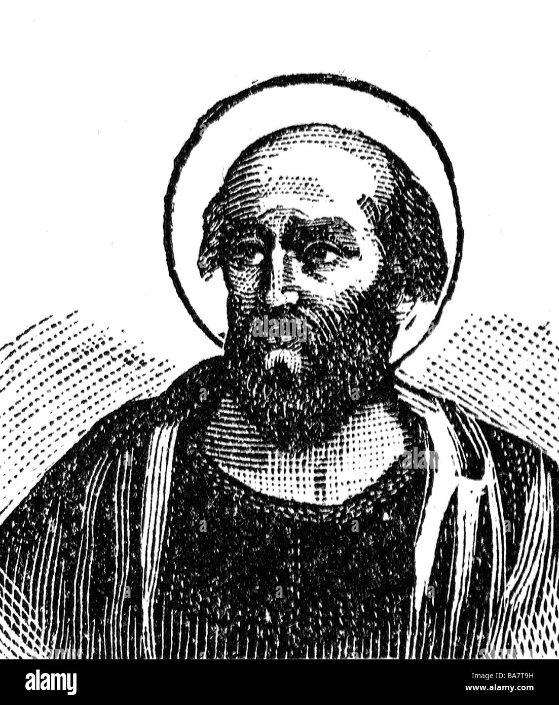 Hyginus, + 140, pope 136 - 140, Saint, portrait, history painting, wood engraving, circa 1900, Additional-Rights Stock Photo