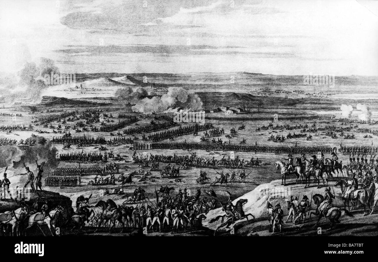 events, War of the Third Coalition 1805, Battle of Austerlitz, 2.12.1805, copper engraving by Duplessis Bertaux - Stock Image