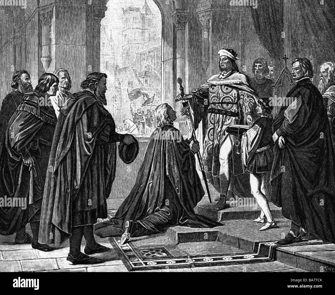 "Louis IV ""the Bavarian"", 1282 - 11.10.1347, Holy Roman Emperor 1328 - 1347,  full length, conferring new rights upon Nuremberg, wood engraving, ..."