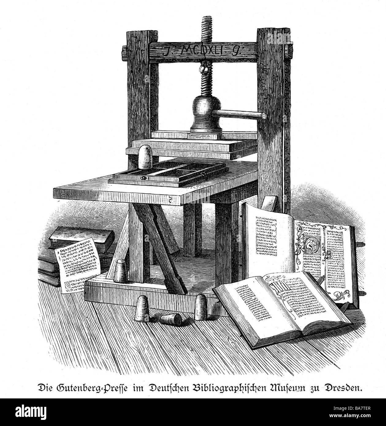 printing press gutenberg stock photos printing press gutenberg