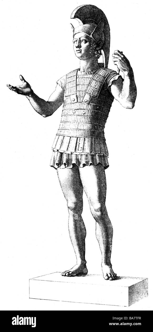 Ares, Greek god of warfare, full length, wood engraving after statue at Museo Gregoriano, Additional-Rights-Clearances - Stock Image