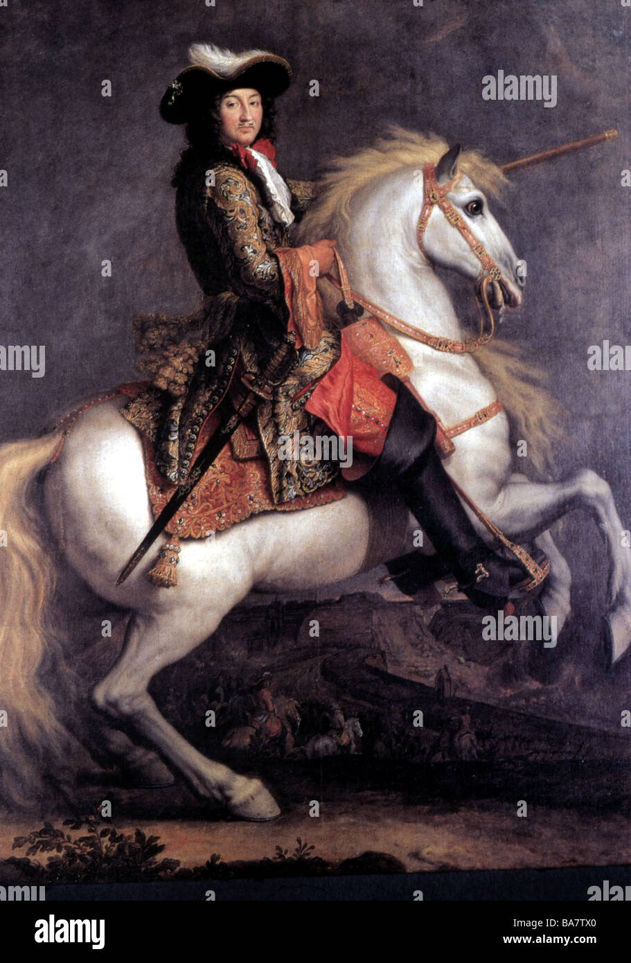 Louis XIV, 5.9.1638 - 1.9.1715, King of France 1643 - 1715, riding, painting by Rene Antoine Houasse, 1679, Musee - Stock Image