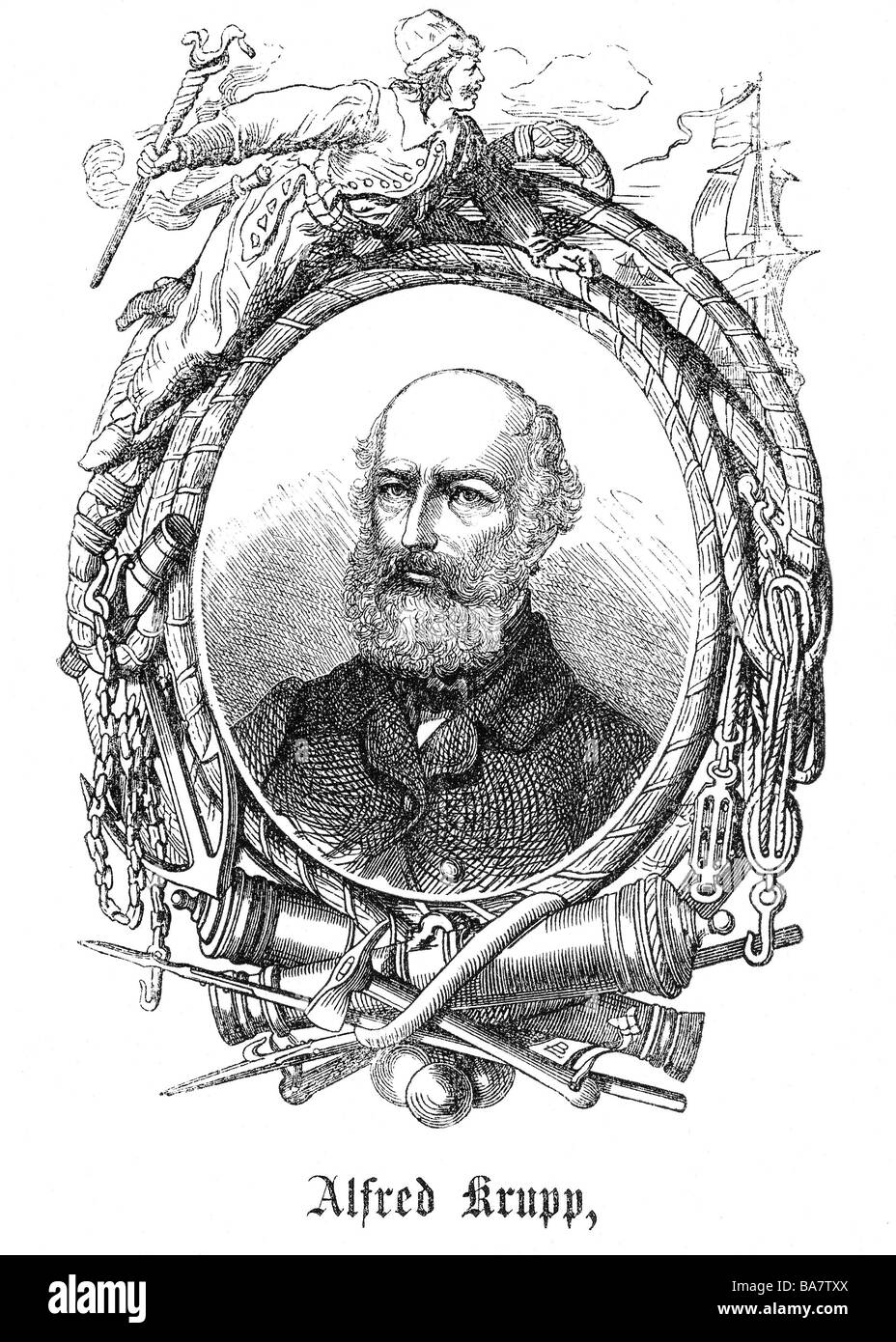 Krupp, Alfred, 11.4.1812 - 14 7.1887, German industrialist, portrait with allegorical border, wood engraving, circa - Stock Image