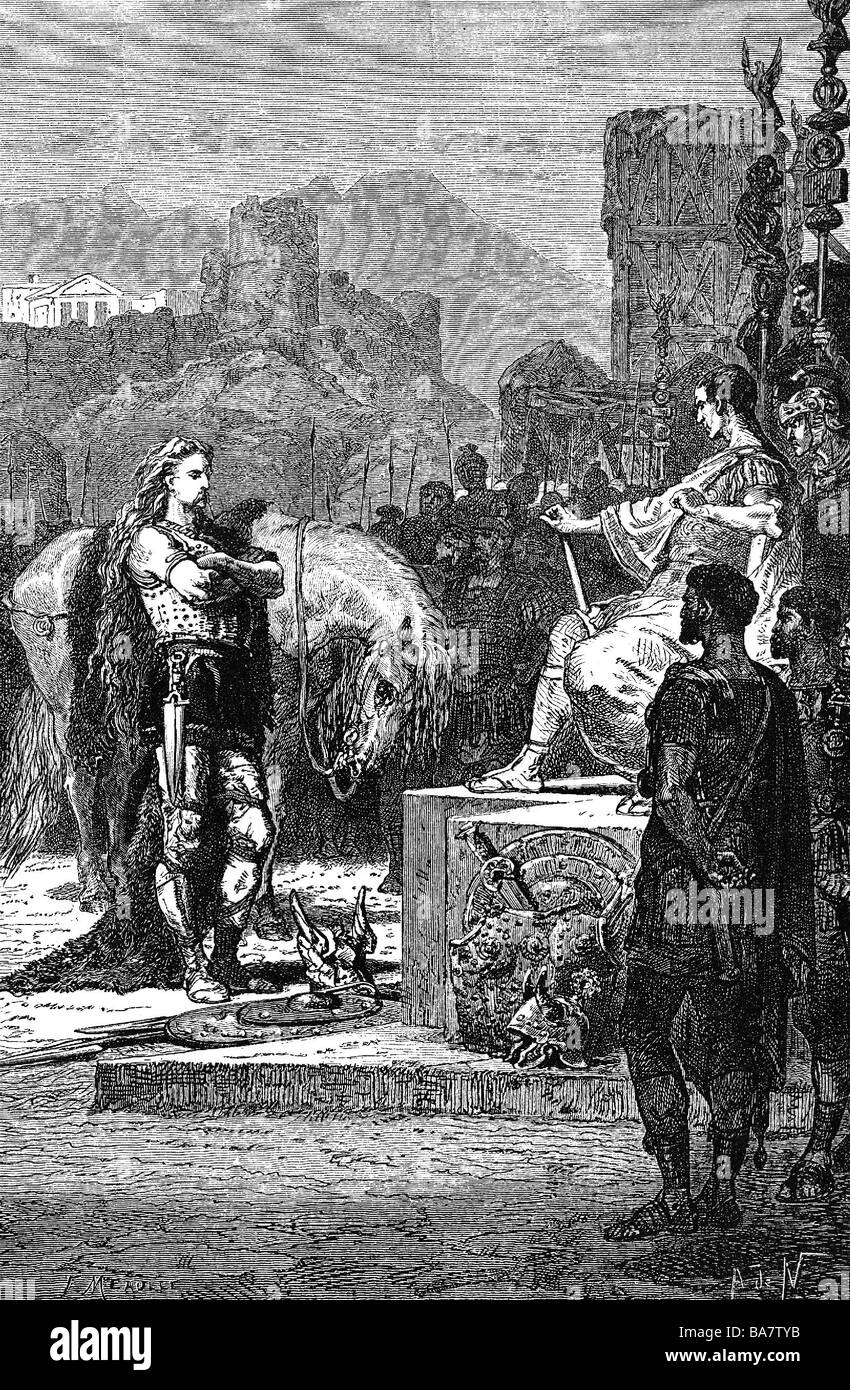 Vercingetorix, circa 82 - 46 BC, Gallic chieftain, surrendering before Julius Caesar, Alesia, 52 BC, wood engraving, - Stock Image