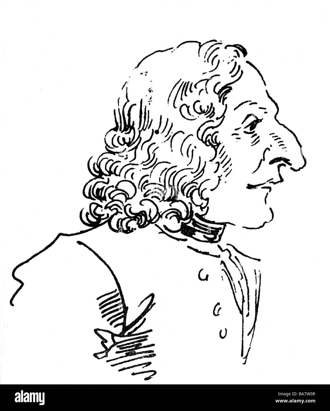 Vivaldi, Antonio, 4.3.1678 - 28.7.1741, Italian composer, portrait, caricature by Leone Ghezzi, 1773, Additional - Stock Image