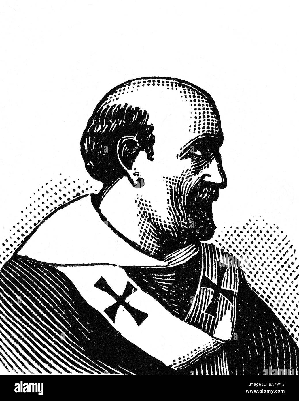 Pope Adrian IV, circa 1115 - 1.9.1159, pope from 1154 - 1.9.1159, portrait, history painting, wood engraving, circa - Stock Image