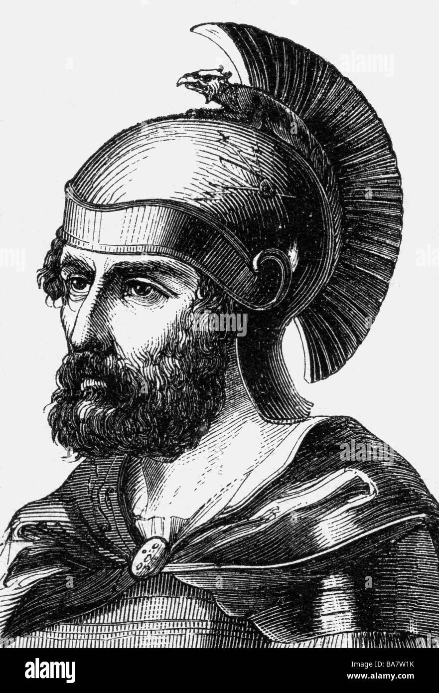 Hamilcar Barka, circa 270 - 229 BC, vChr. Carthaginian military leader, portrait, wood engraving, 19th century, - Stock Image