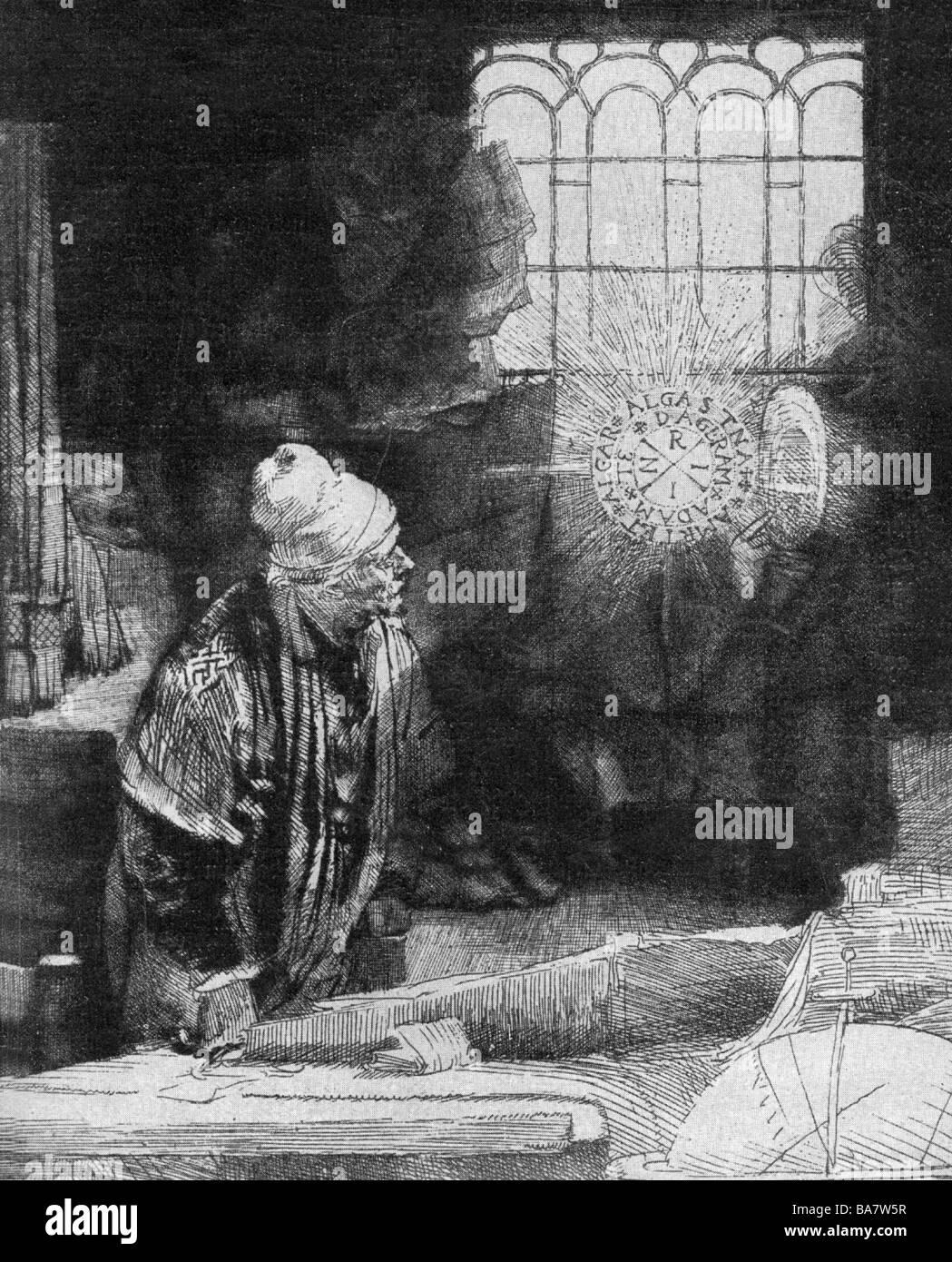 Faust, Johann Georg, 1480 - 1540, German magician, astrologer, mentalist, half length, beholding the symbol of the - Stock Image