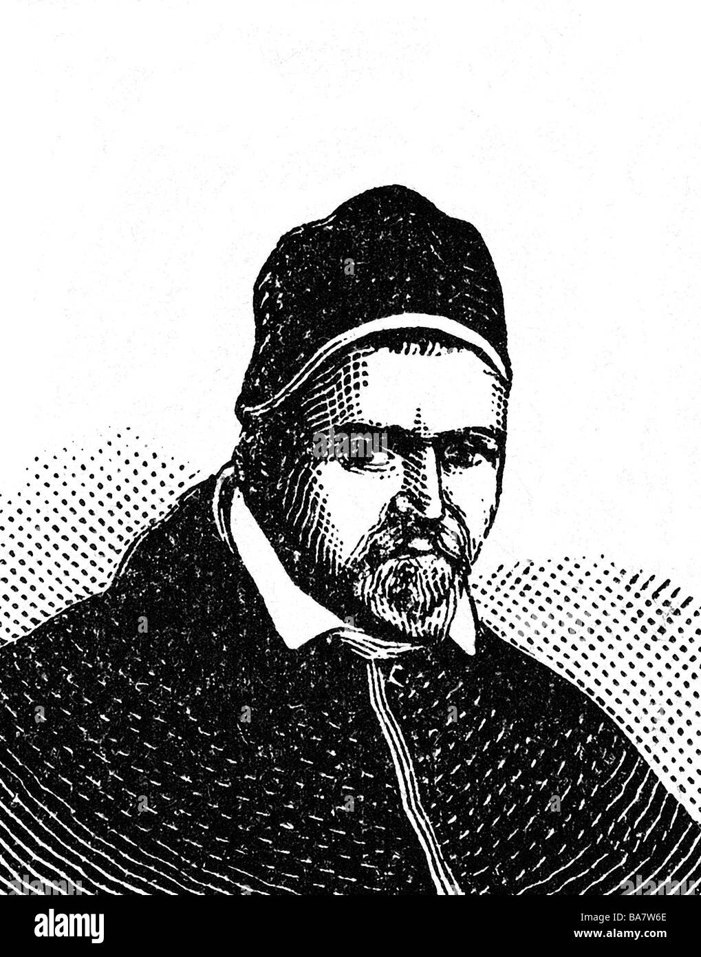 Paul V. (Camillo Borghese), 17.9.1552 -  28.1.1621, Pope 16.5.1605 - 28.1.1621, portrait, wood engraving, circa Stock Photo