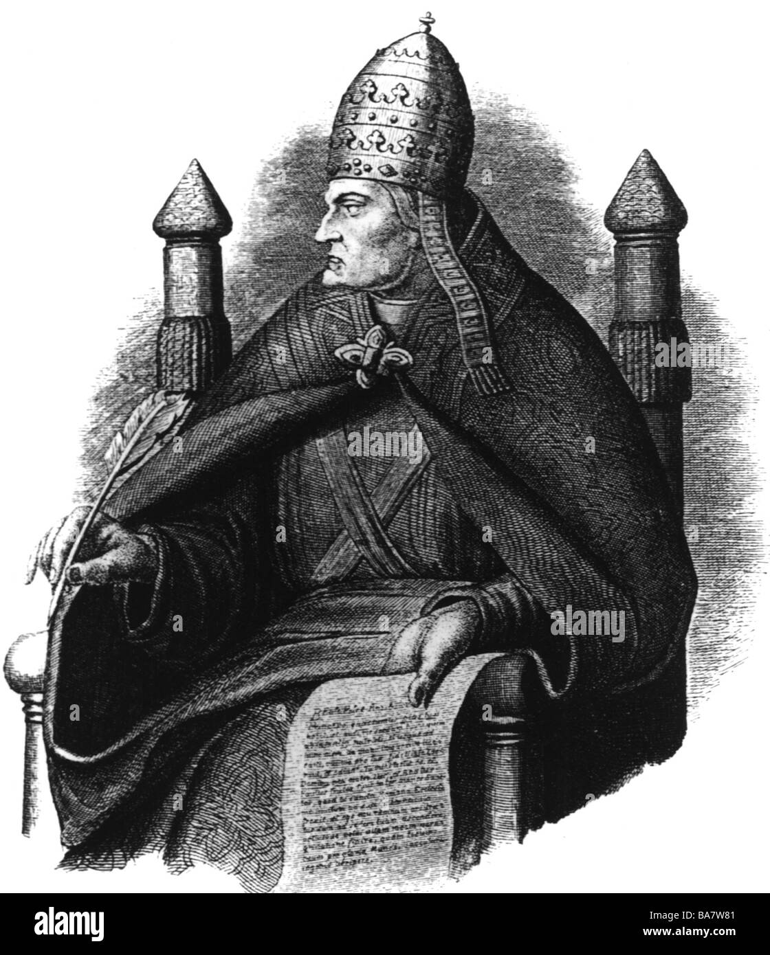 Gregory VII (Hildebrand of Soana), circa 1020/1025 - 25.5.1085, Pope 21.4.1073 - 25.5.1085, half length, wood engraving - Stock Image