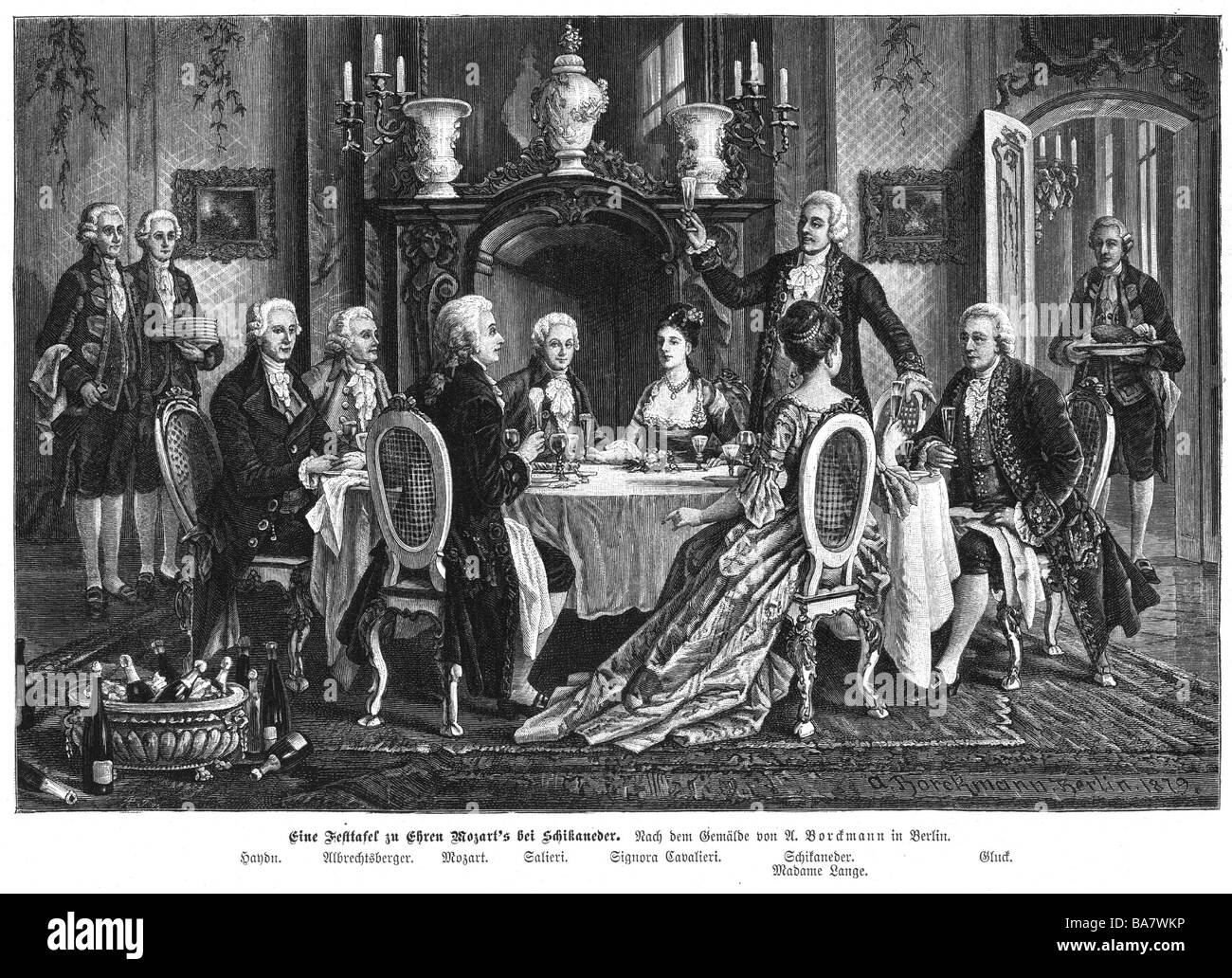 Mozart, Wolfgang Amadeus, 27.1.1756 - 5.12.1791, Austrian musician (composer), interior, table at Schikaneder for - Stock Image