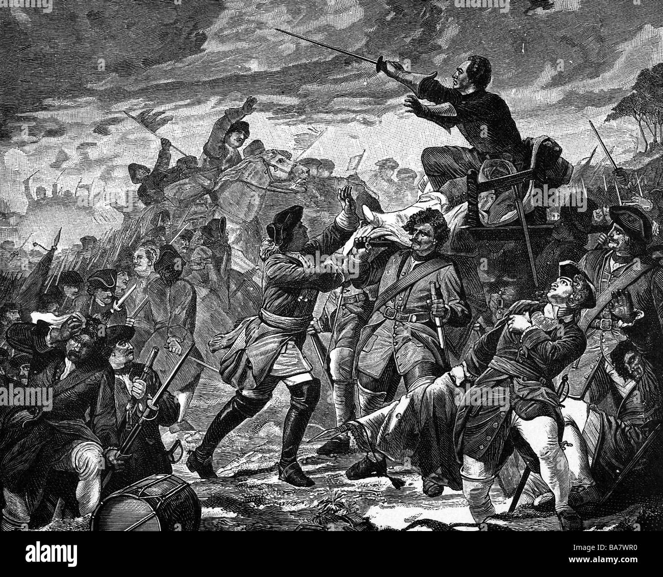 Charles XII, 27.6.1682 - 11.12. 1718, King of Sweden 15.4.1697 - 11.12.1718, at the Battle of Poltava, wood engraving, - Stock Image