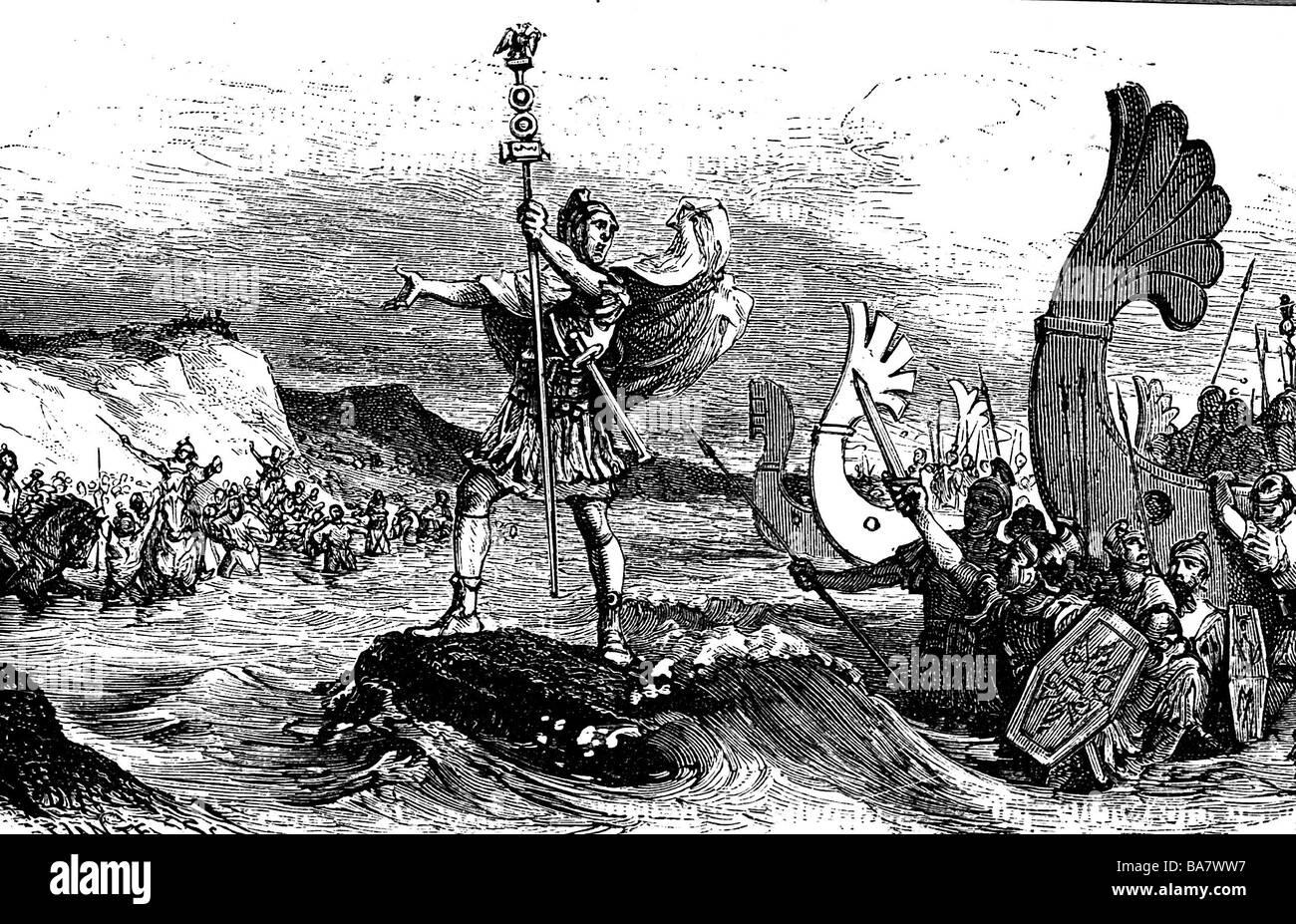 Gallic War 58 - 51 BC, the Romans under proconsul Caius Julius Caesar debarking in Britannia, 55 BC, of the aquilifer - Stock Image
