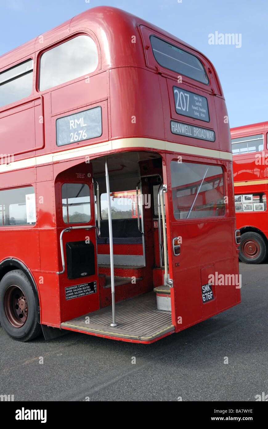 SMK 676F rear view of 1967 AEC Routemaster RML 2676 at the Cobham Bus Museum Annual Spring Bus Coach gathering at - Stock Image