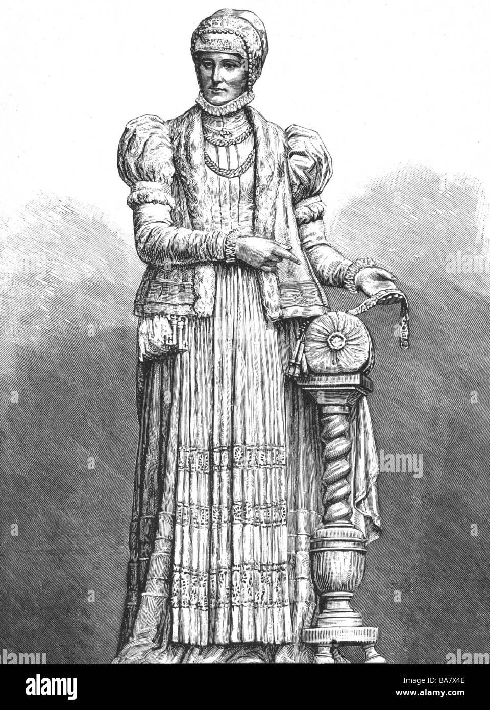 Uttmann, Barbara, 1514 - 15.10.1575, German inventor of bobbin lace making, full length, wood engraving by A. Closs, - Stock Image