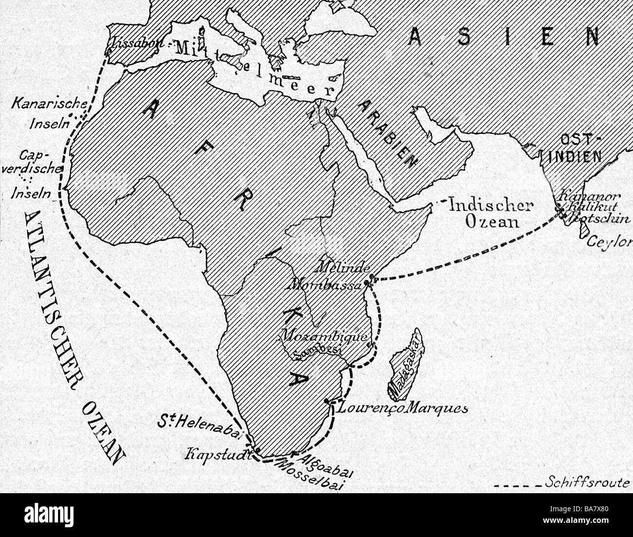 Gama, Vasco da, circa 1469 - 24.12.1524, Portugese navigator,  map with the route of his first journey to India - Stock Image