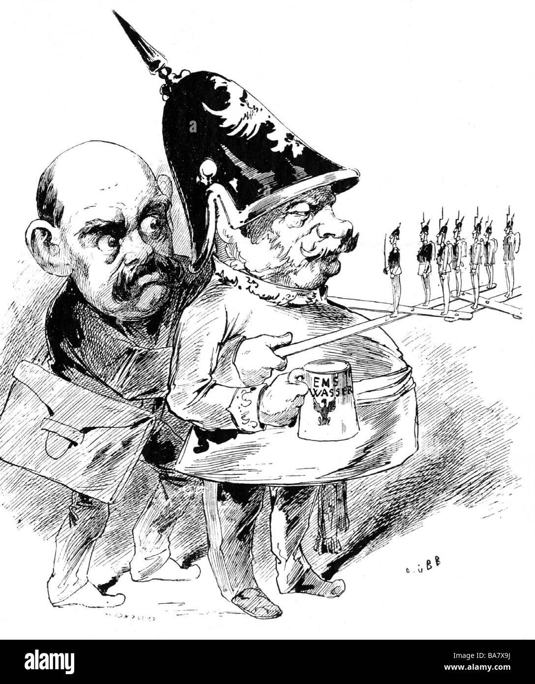 Bismarck, Otto von, 1.4.1815 - 30.7.1898, German politician, caricature, 'Bismarck Le roi de Prusse', drawing, - Stock Image