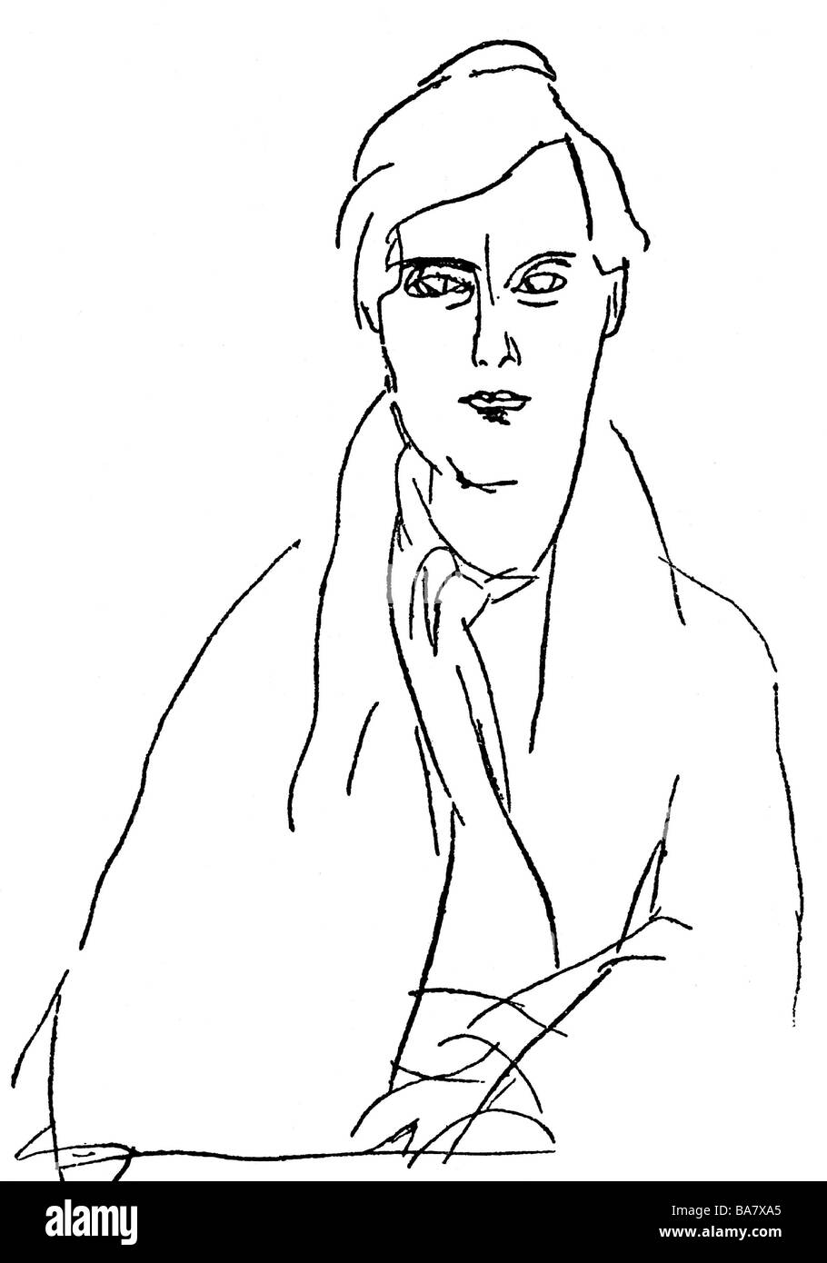 Modigliani, Amedeo, 12.7.1884 & 25.1.1920, Italian artist (painter), self-half length, drawing, Additional-Rights - Stock Image