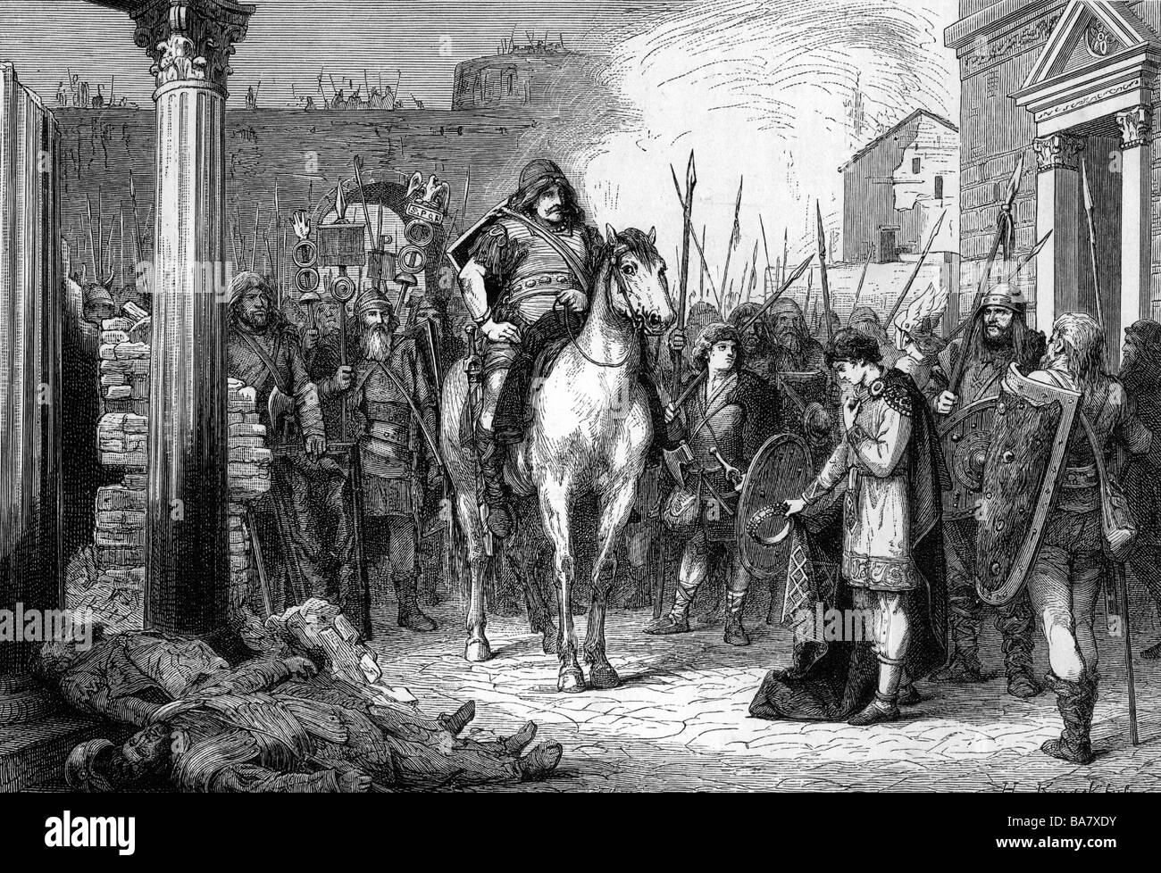 Romulus Augustulus, 460 - circa 510, Roman Emperor 31.10.475 - 4.9.476, abdication in front of Odoacer, wood engraving, - Stock Image