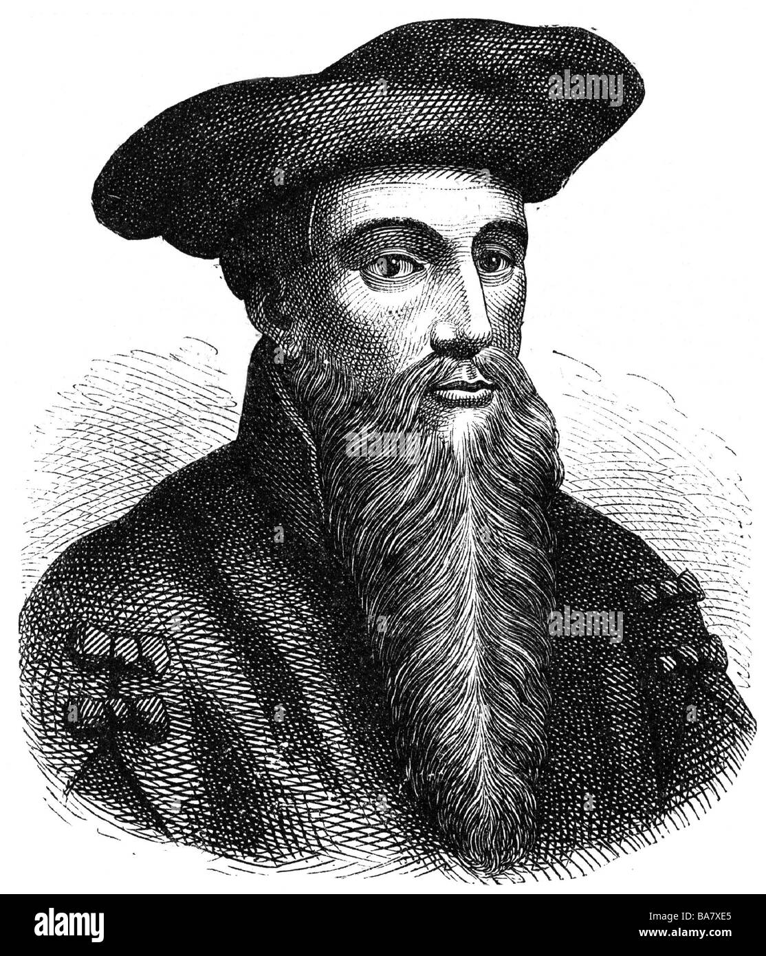 Faust, Johann Georg, 1480 - 1540, German magician, astrologer, mentalist, portrait, wood engraving, Additional-Rights - Stock Image