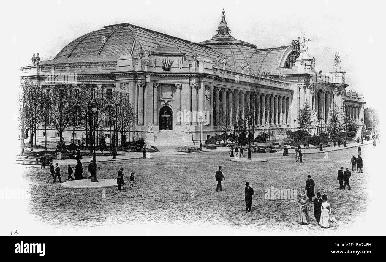 exhibitions, world exposition, Expostion Universelle, Paris, 15.4.1900 - 12.11.1900, Grand Palais, exterior view, - Stock Image