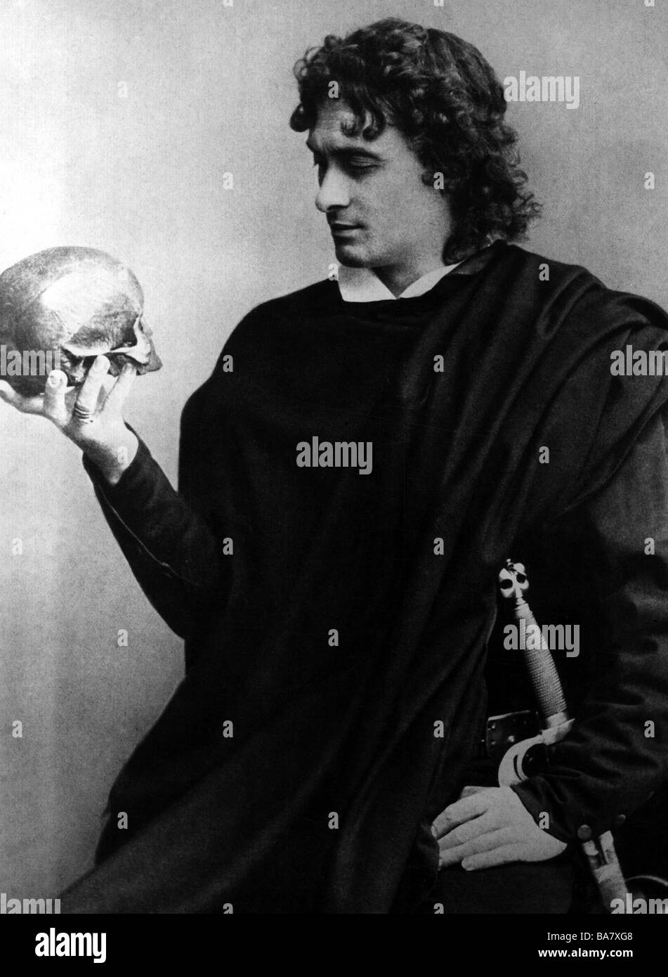 Kainz, Josef, 2.1.1858 - 20.9.1910, Austrian actor, half length, as Hamlet in the drama by William Shakespeare, - Stock Image