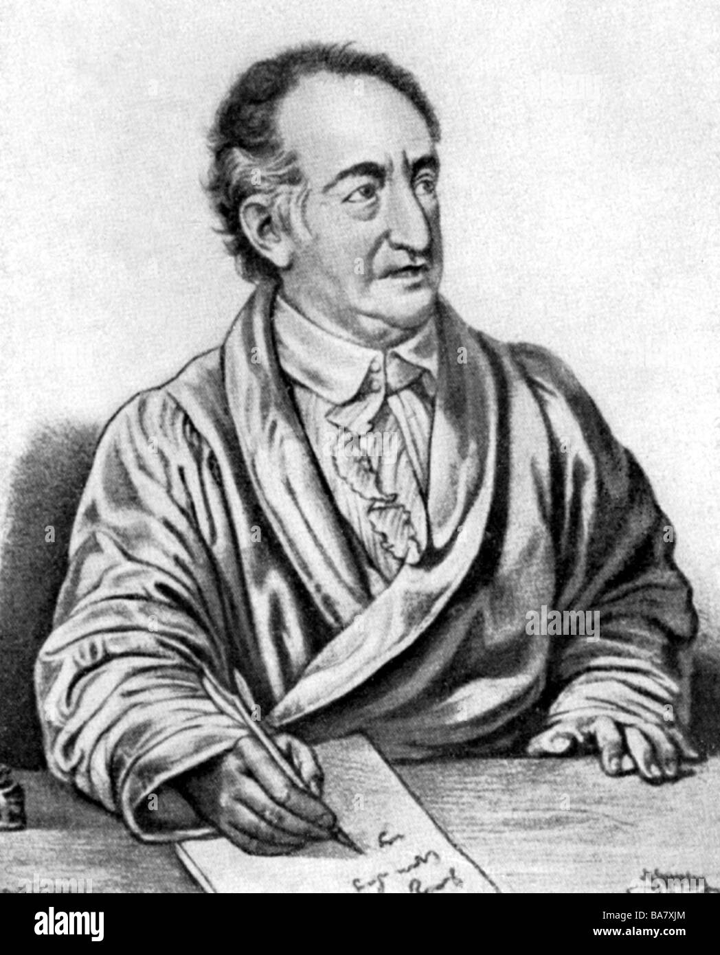 Goethe, Johann Wolfgang, 28.8.1749 - 22.3.1832, German author / writer, half length, lithographie by Greveson after - Stock Image
