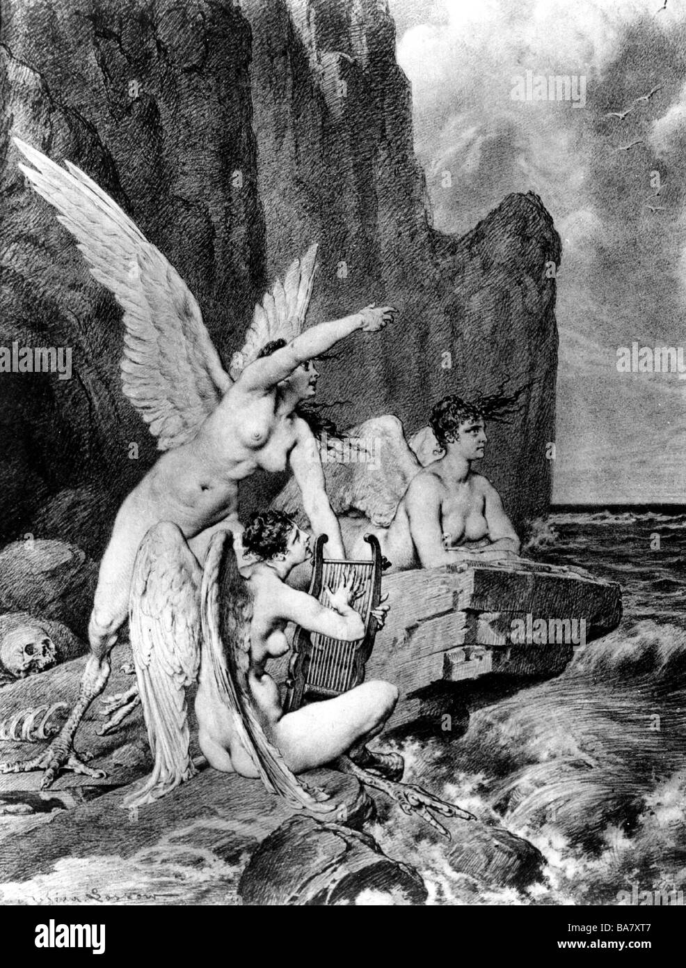 Sirens, Greek mythical creatures, luring seafarers into a trap with their singing, etching by Heinrich Lossow, 19th - Stock Image
