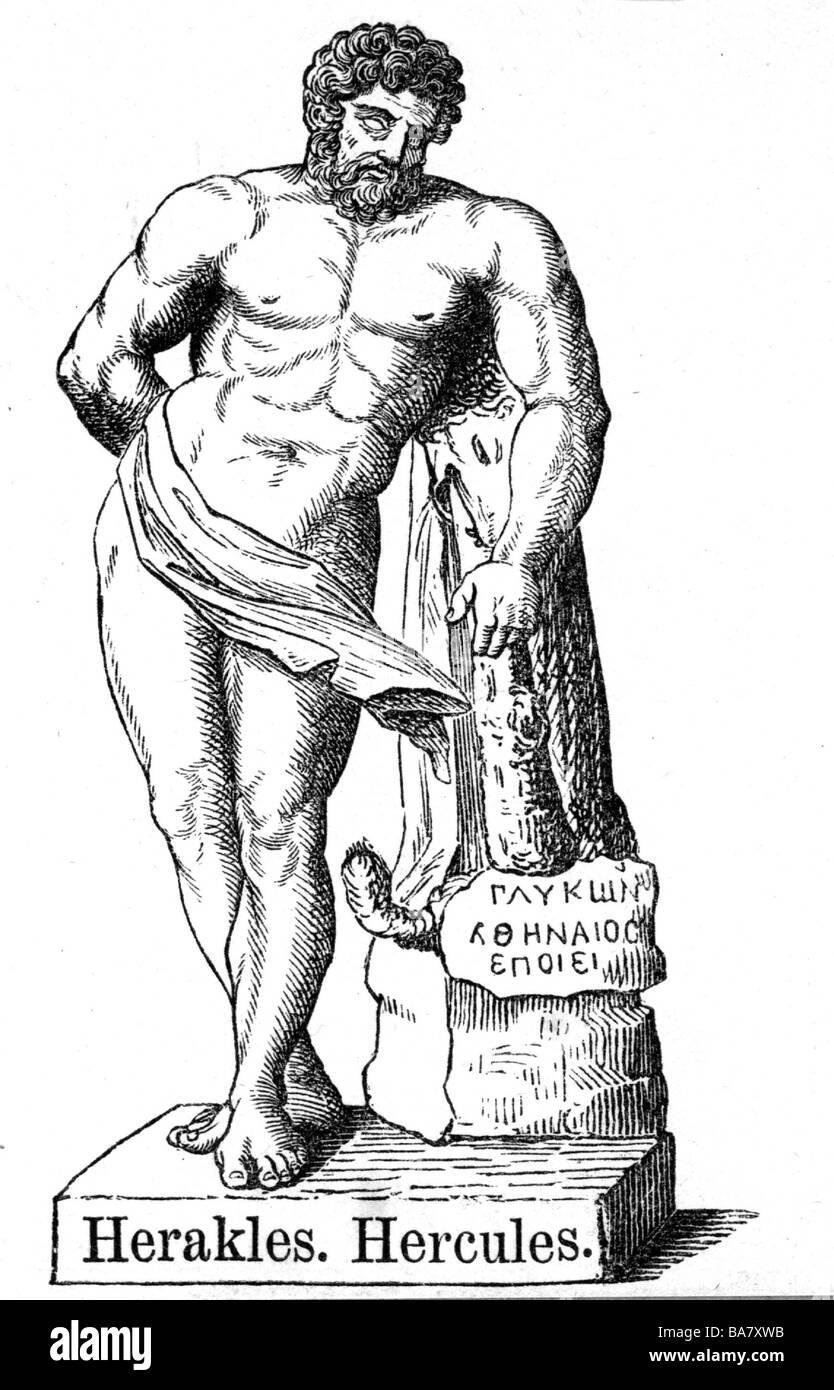 Heracles Greek Deity And Divine Hero Full Length Statue Wood