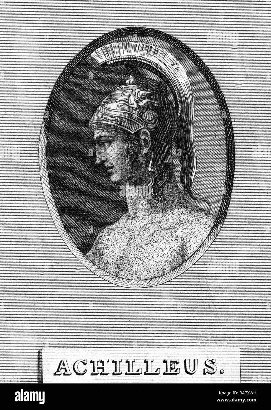 Achilles, Greek hero, portrait, side view, history painting, copper engraving, circa 18th century, Artist's Copyright Stock Photo
