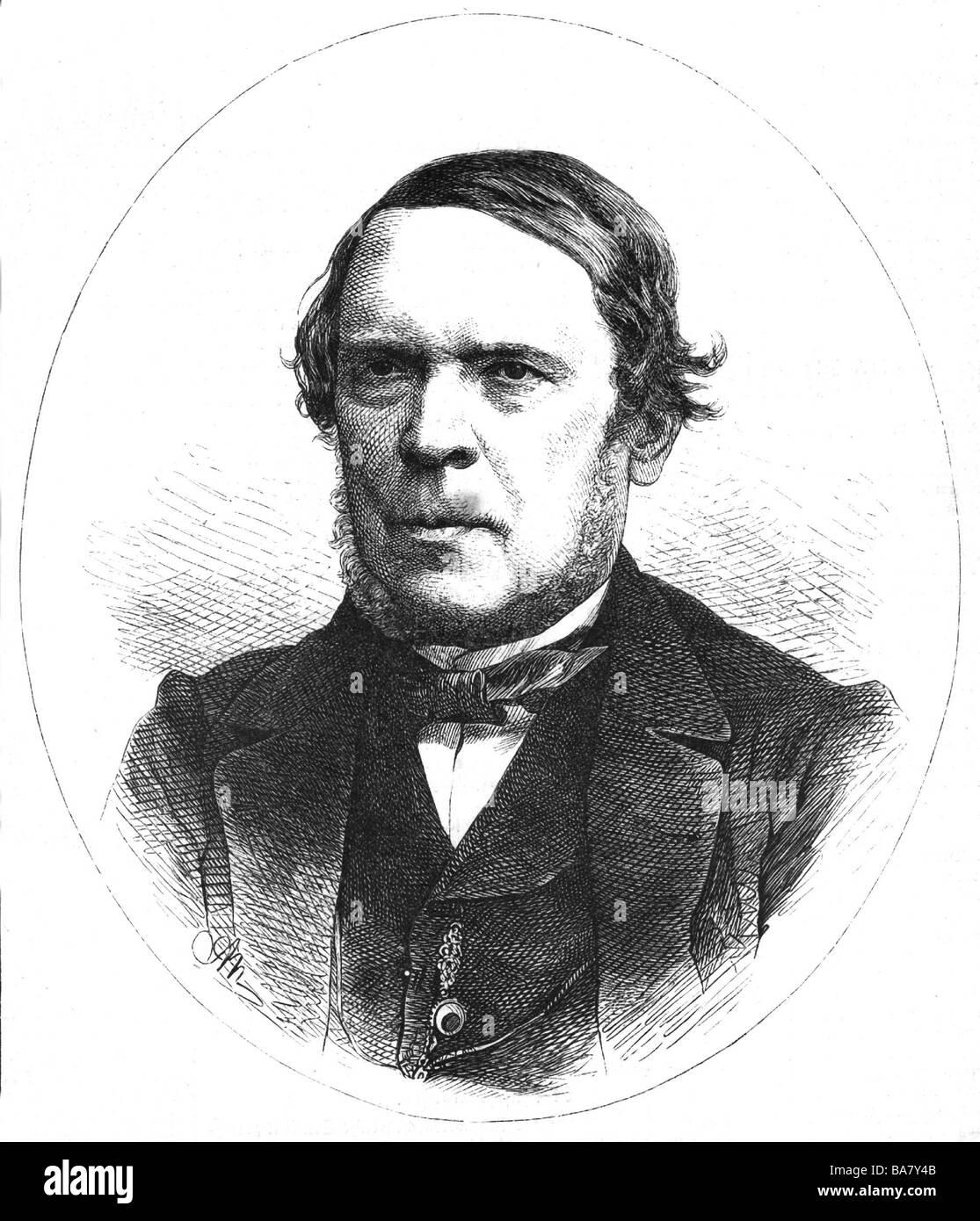 Halm, Friedrich, 2.4.1806 - 22.5.1871, Austrian author/writer (dramatist and novelist), portrait, wood engraving, 19th century, Stock Photo