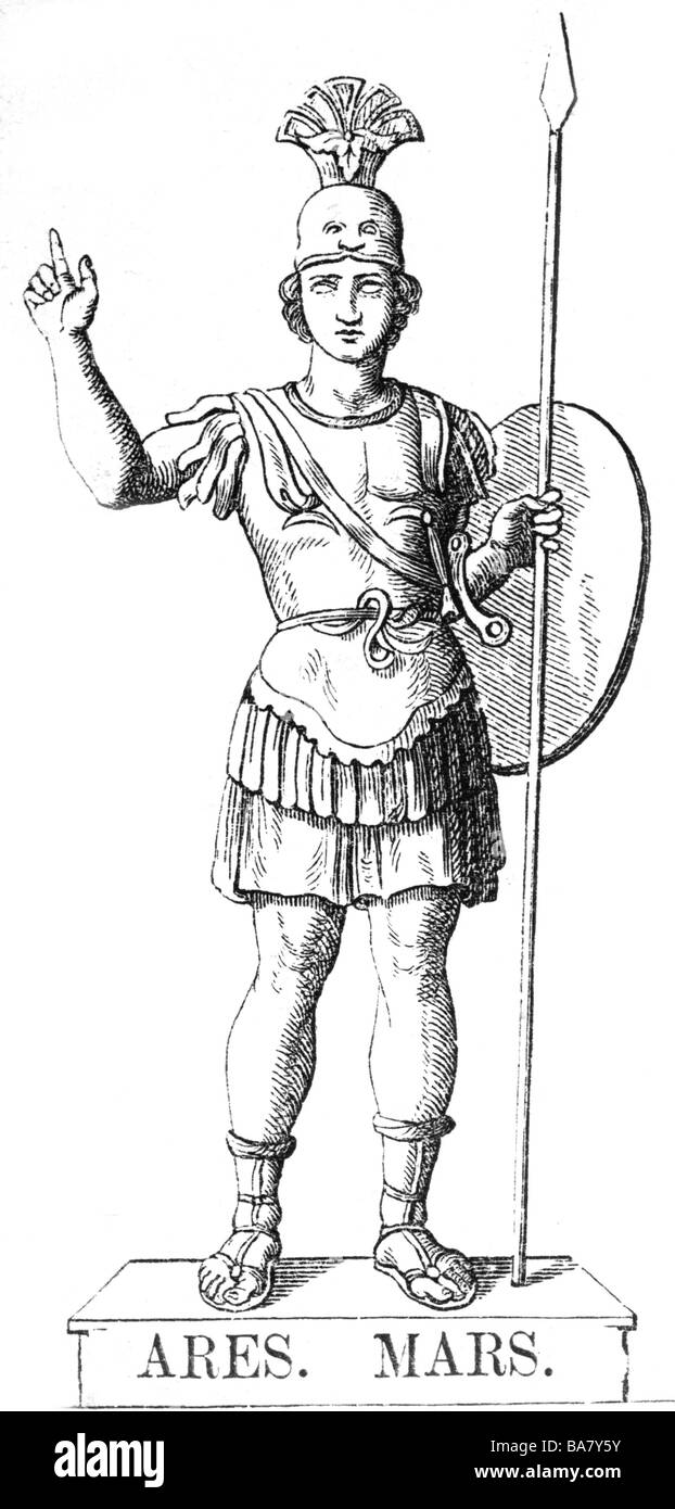 Ares, Greek god of warfare, full length, wood engraving after statue, 19th century, Additional-Rights-Clearances - Stock Image