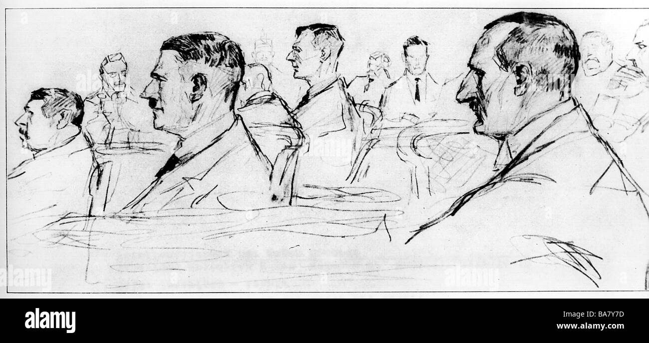 """Hitler, Adolf, 20.4.1889 - 30.4.1945, German politician (NSDAP), lawsuit at the """"Volksgericht"""" (People`s court), Stock Photo"""